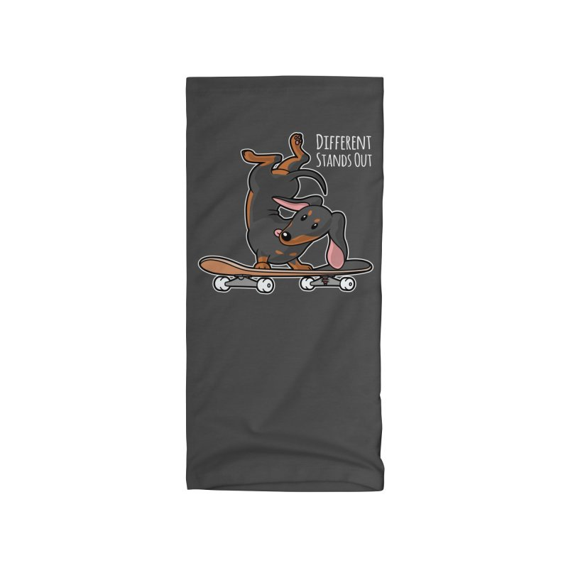 Different Stands Out - Black Dachshund Wiener Sausage Dog on Skateboard Accessories Neck Gaiter by Art Time Productions by TET