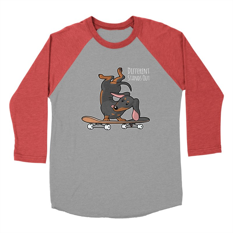 Different Stands Out - Black Dachshund Wiener Sausage Dog on Skateboard Men's Longsleeve T-Shirt by Art Time Productions by TET