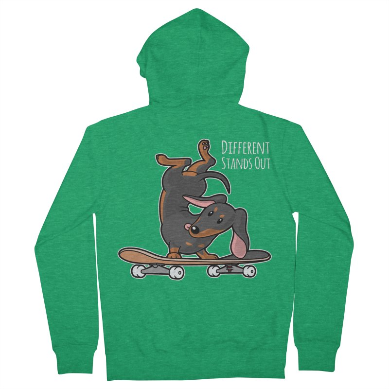 Different Stands Out - Black Dachshund Wiener Sausage Dog on Skateboard Women's Zip-Up Hoody by Art Time Productions by TET