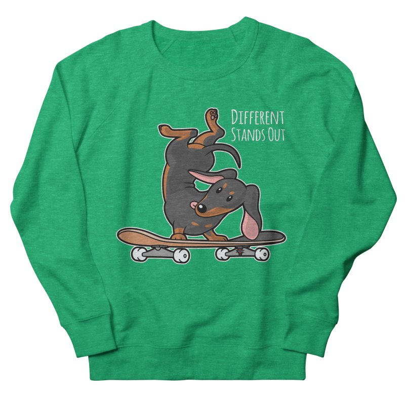 Different Stands Out - Black Dachshund Wiener Sausage Dog on Skateboard Women's Sweatshirt by Art Time Productions by TET
