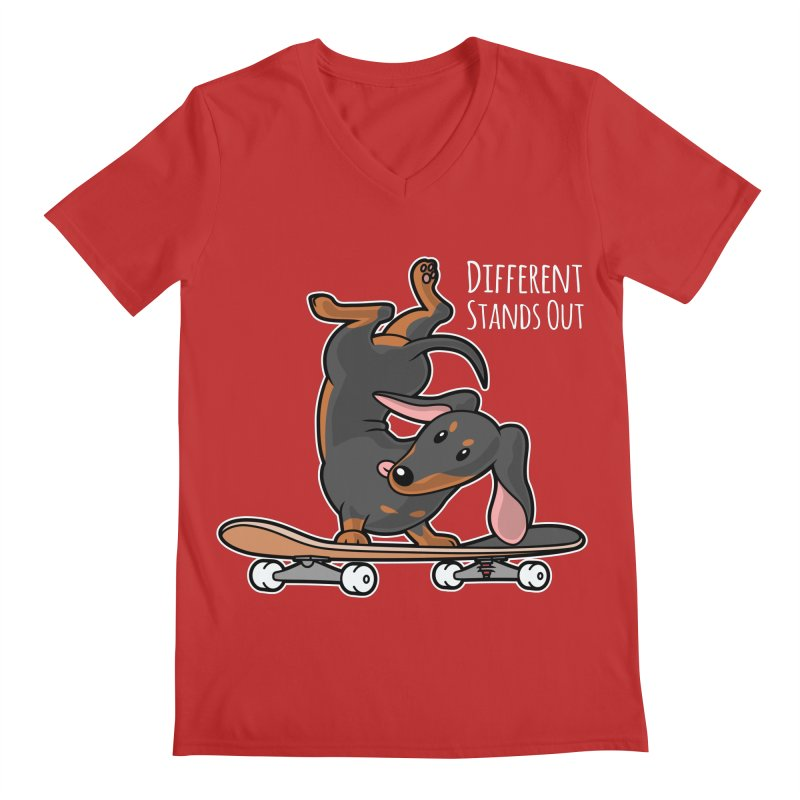 Different Stands Out - Black Dachshund Wiener Sausage Dog on Skateboard Men's V-Neck by Art Time Productions by TET