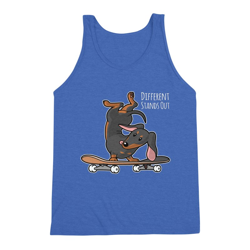 Different Stands Out - Black Dachshund Wiener Sausage Dog on Skateboard Men's Tank by Art Time Productions by TET