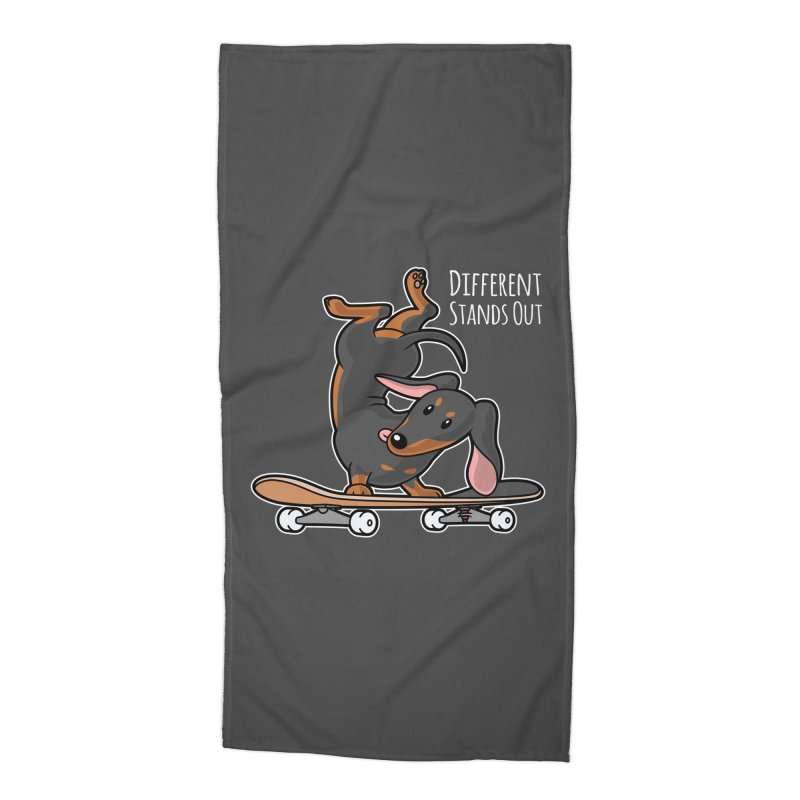 Different Stands Out - Black Dachshund Wiener Sausage Dog on Skateboard Accessories Beach Towel by Art Time Productions by TET