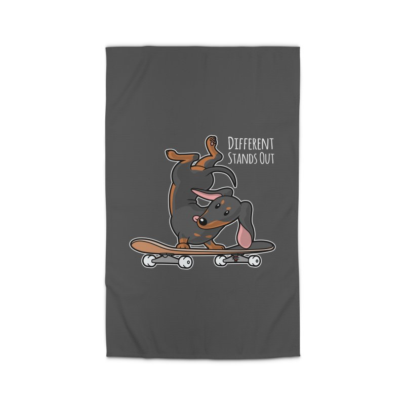 Different Stands Out - Black Dachshund Wiener Sausage Dog on Skateboard Home Rug by Art Time Productions by TET