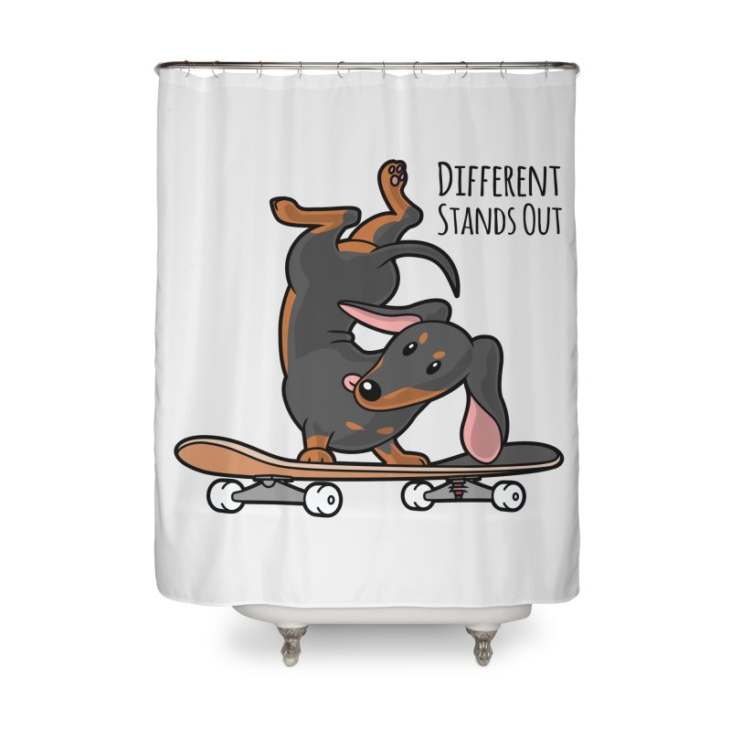 Different Stands Out - Black Dachshund Wiener Sausage Dog on Skateboard Home Shower Curtain by Art Time Productions by TET