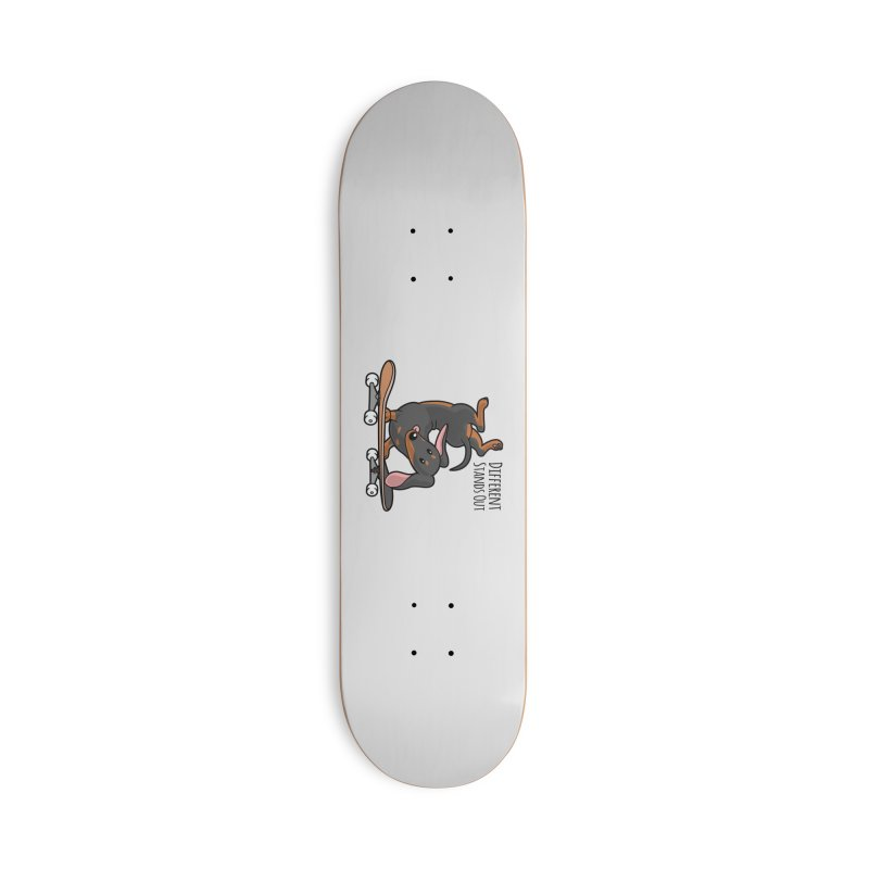 Different Stands Out - Black Dachshund Wiener Sausage Dog on Skateboard Accessories Skateboard by Art Time Productions by TET