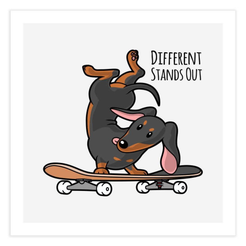 Different Stands Out - Black Dachshund Wiener Sausage Dog on Skateboard Home Fine Art Print by Art Time Productions by TET