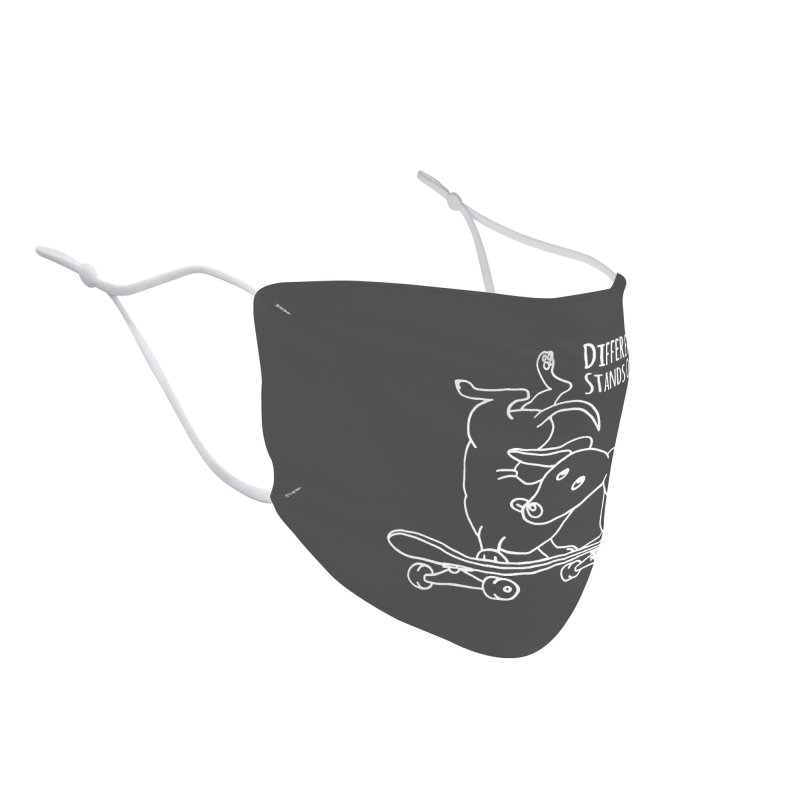 Different Stands Out - Line Art Dachshund Wiener Sausage Dog on Skateboard Accessories Face Mask by Art Time Productions by TET