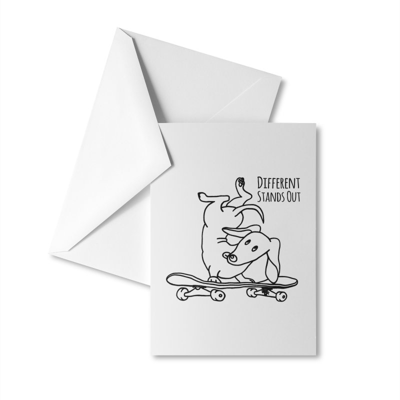 Different Stands Out - Line Art Dachshund Wiener Sausage Dog on Skateboard Accessories Greeting Card by Art Time Productions by TET