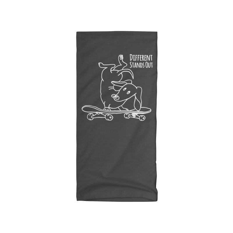 Different Stands Out - Line Art Dachshund Wiener Sausage Dog on Skateboard Accessories Neck Gaiter by Art Time Productions by TET