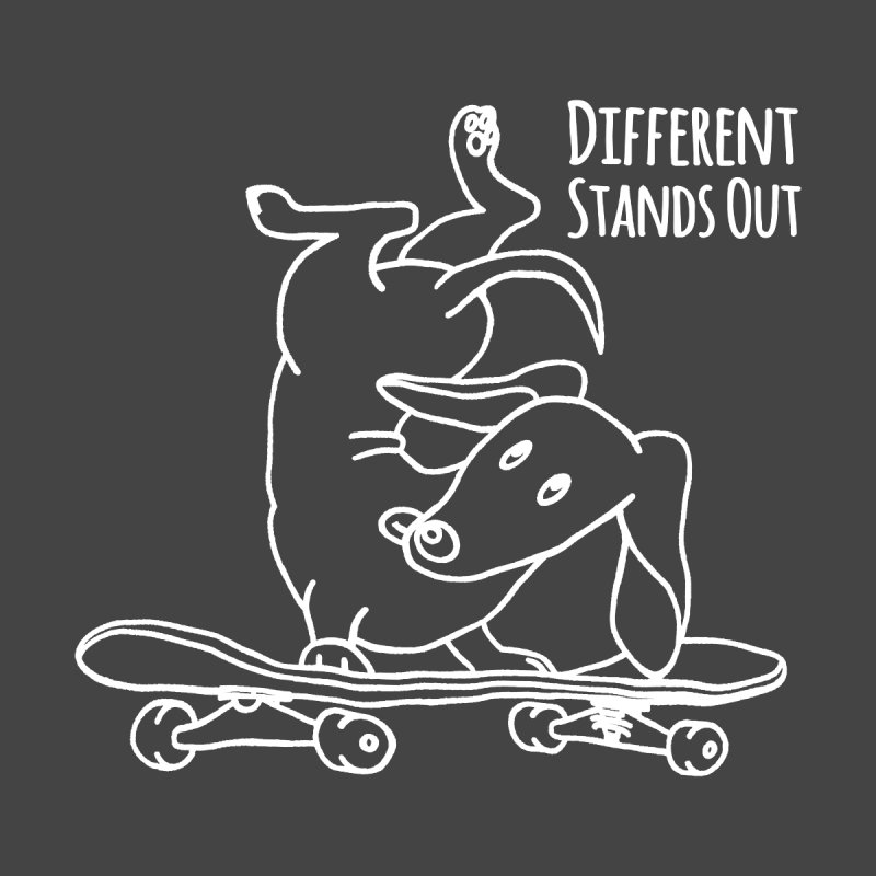 Different Stands Out - Line Art Dachshund Wiener Sausage Dog on Skateboard Men's Tank by Art Time Productions by TET