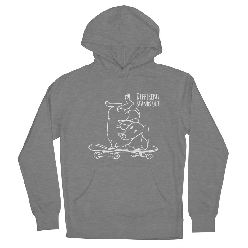 Different Stands Out - Line Art Dachshund Wiener Sausage Dog on Skateboard Women's Pullover Hoody by Art Time Productions by TET