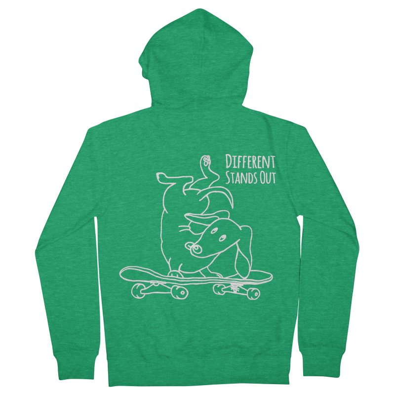 Different Stands Out - Line Art Dachshund Wiener Sausage Dog on Skateboard Women's Zip-Up Hoody by Art Time Productions by TET
