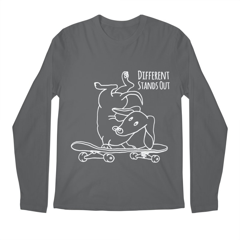 Different Stands Out - Line Art Dachshund Wiener Sausage Dog on Skateboard Men's Longsleeve T-Shirt by Art Time Productions by TET