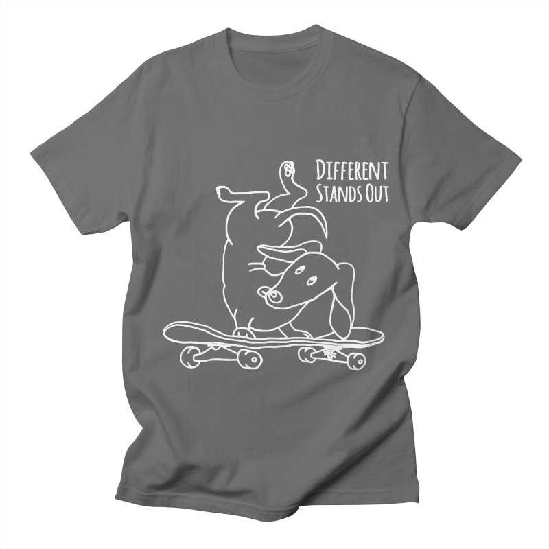 Different Stands Out - Line Art Dachshund Wiener Sausage Dog on Skateboard Men's T-Shirt by Art Time Productions by TET