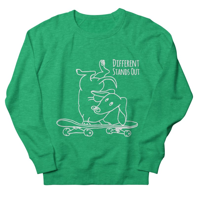 Different Stands Out - Line Art Dachshund Wiener Sausage Dog on Skateboard Women's Sweatshirt by Art Time Productions by TET