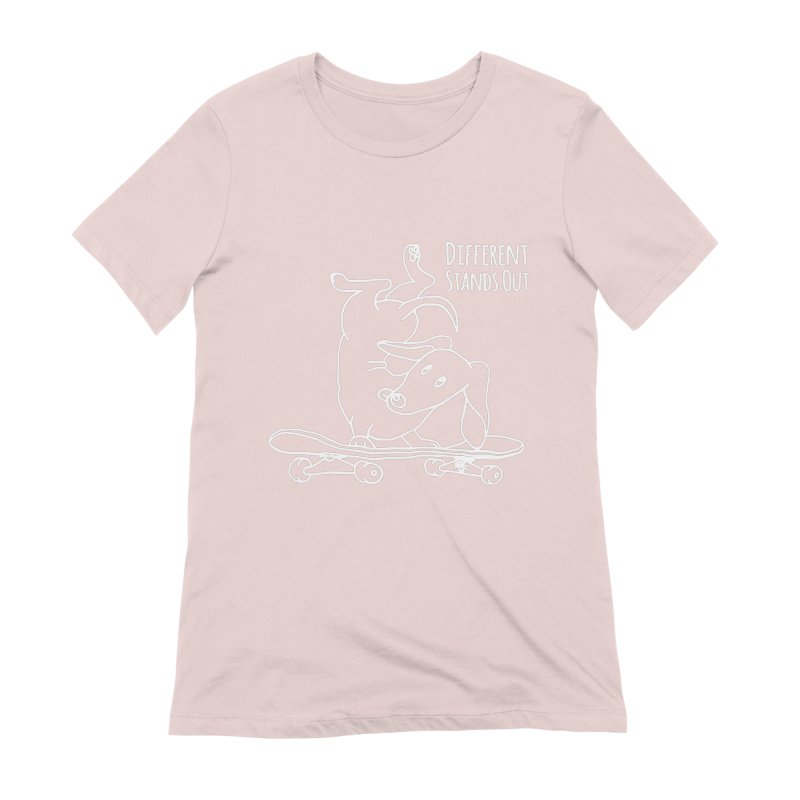 Different Stands Out - Line Art Dachshund Wiener Sausage Dog on Skateboard Women's T-Shirt by Art Time Productions by TET