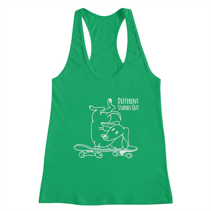 Different Stands Out - Line Art Dachshund Wiener Sausage Dog on Skateboard Women's Tank by Art Time Productions by TET