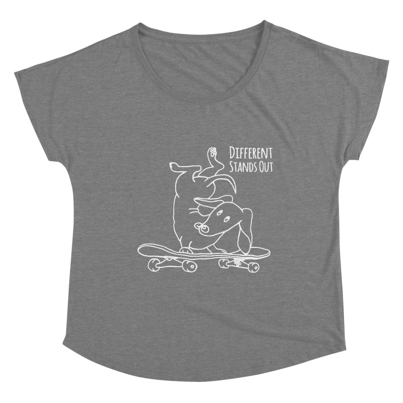 Different Stands Out - Line Art Dachshund Wiener Sausage Dog on Skateboard Women's Scoop Neck by Art Time Productions by TET
