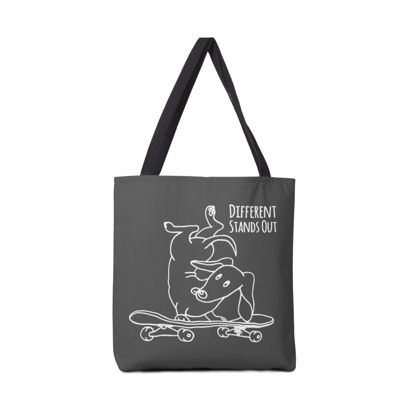 Different Stands Out - Line Art Dachshund Wiener Sausage Dog on Skateboard Accessories Bag by Art Time Productions by TET