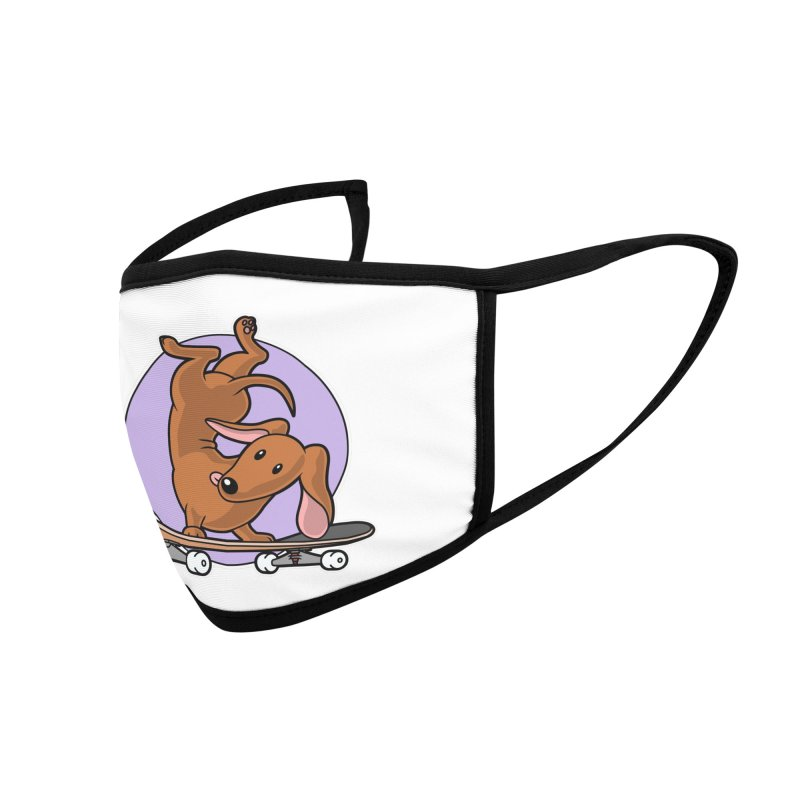 Red Dachshund Wiener Sausage Dog on Skateboard Accessories Face Mask by Art Time Productions by TET