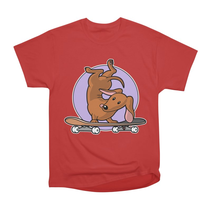 Red Dachshund Wiener Sausage Dog on Skateboard Women's T-Shirt by Art Time Productions by TET