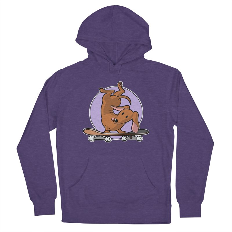 Red Dachshund Wiener Sausage Dog on Skateboard Women's Pullover Hoody by Art Time Productions by TET