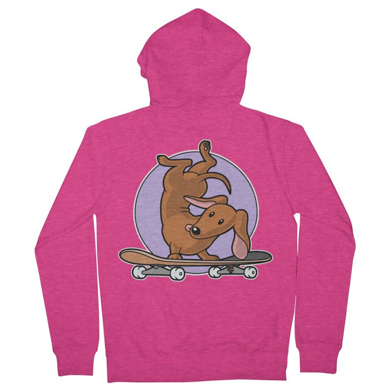 Red Dachshund Wiener Sausage Dog on Skateboard Women's Zip-Up Hoody by Art Time Productions by TET