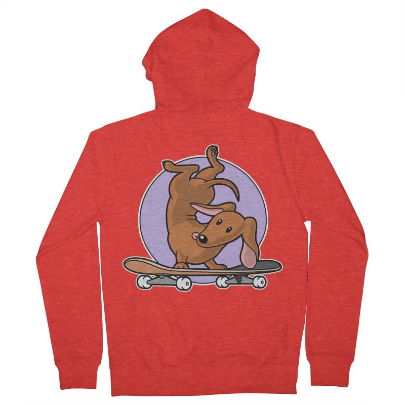 Red Dachshund Wiener Sausage Dog on Skateboard Men's Zip-Up Hoody by Art Time Productions by TET