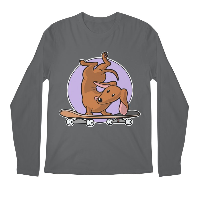 Red Dachshund Wiener Sausage Dog on Skateboard Men's Longsleeve T-Shirt by Art Time Productions by TET