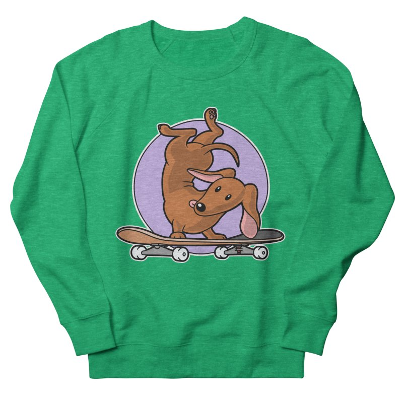 Red Dachshund Wiener Sausage Dog on Skateboard Women's Sweatshirt by Art Time Productions by TET