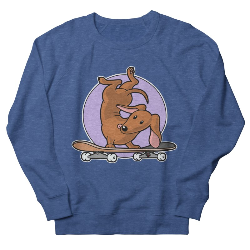 Red Dachshund Wiener Sausage Dog on Skateboard Men's Sweatshirt by Art Time Productions by TET