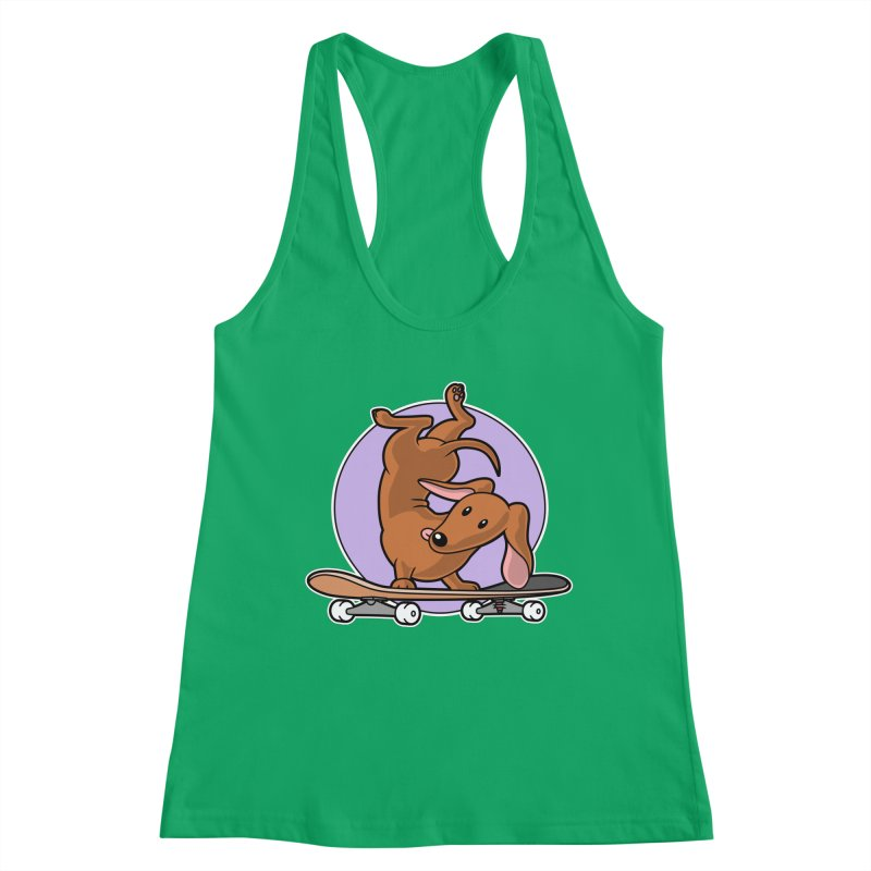 Red Dachshund Wiener Sausage Dog on Skateboard Women's Tank by Art Time Productions by TET