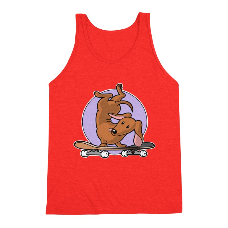 Red Dachshund Wiener Sausage Dog on Skateboard Men's Tank by Art Time Productions by TET