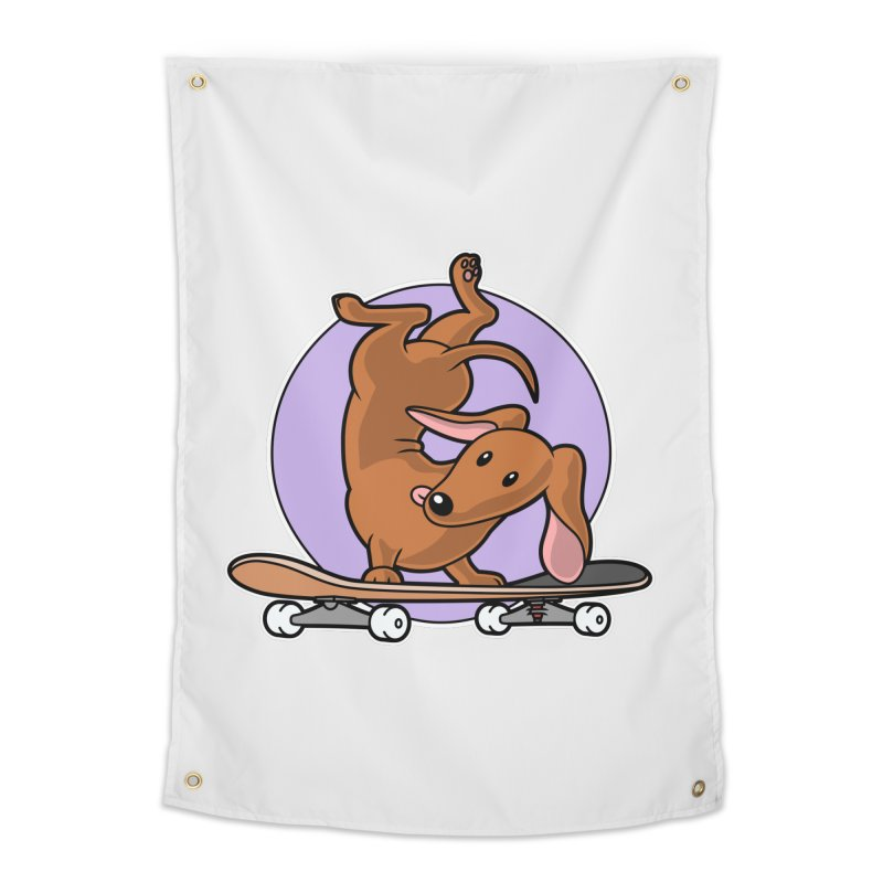 Red Dachshund Wiener Sausage Dog on Skateboard Home Tapestry by Art Time Productions by TET