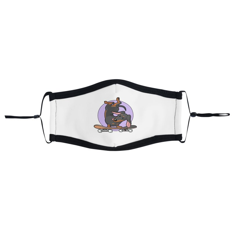 Black Dachshund Wiener Sausage Dog on Skateboard Accessories Face Mask by Art Time Productions by TET