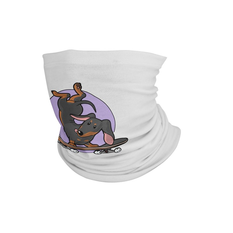 Black Dachshund Wiener Sausage Dog on Skateboard Accessories Neck Gaiter by Art Time Productions by TET