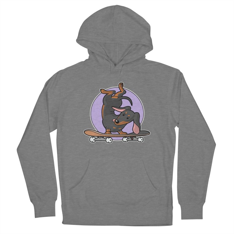 Black Dachshund Wiener Sausage Dog on Skateboard Women's Pullover Hoody by Art Time Productions by TET