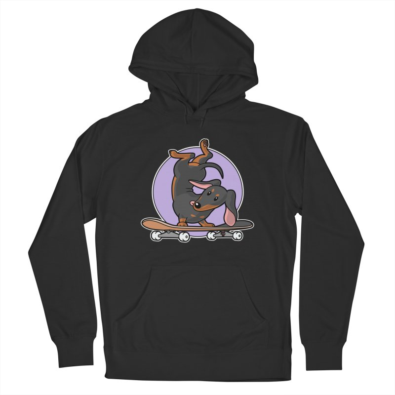 Black Dachshund Wiener Sausage Dog on Skateboard Men's Pullover Hoody by Art Time Productions by TET