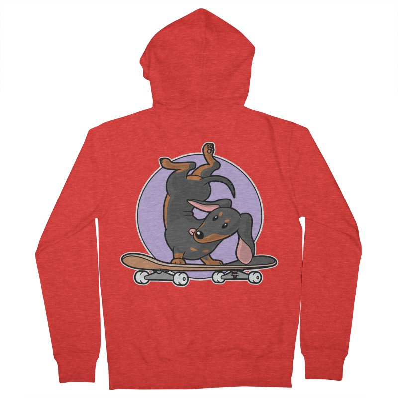 Black Dachshund Wiener Sausage Dog on Skateboard Women's Zip-Up Hoody by Art Time Productions by TET