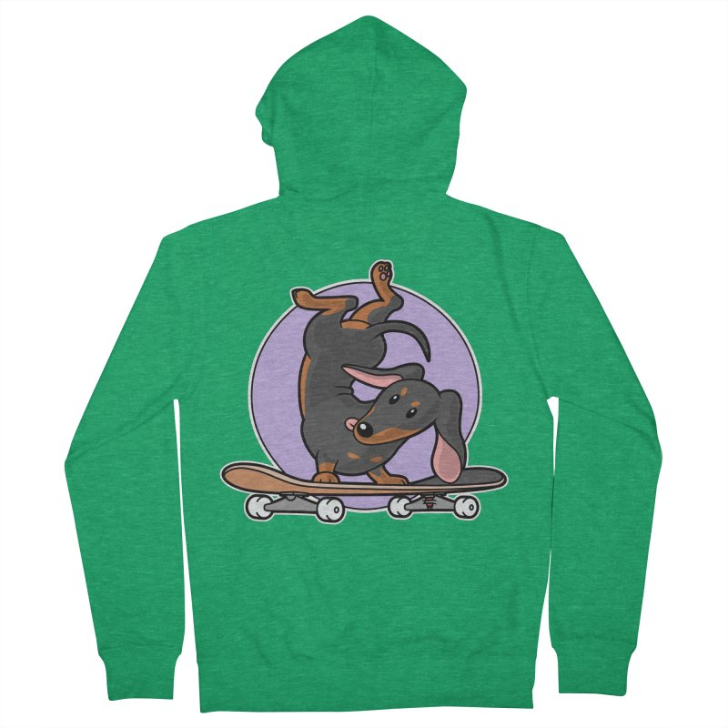 Black Dachshund Wiener Sausage Dog on Skateboard Men's Zip-Up Hoody by Art Time Productions by TET