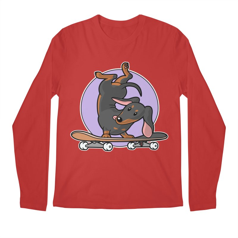 Black Dachshund Wiener Sausage Dog on Skateboard Men's Longsleeve T-Shirt by Art Time Productions by TET