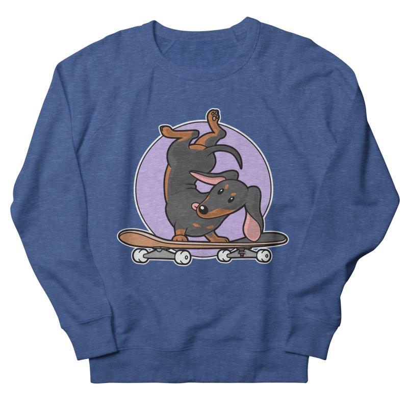 Black Dachshund Wiener Sausage Dog on Skateboard Men's Sweatshirt by Art Time Productions by TET