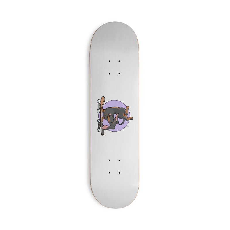 Black Dachshund Wiener Sausage Dog on Skateboard Accessories Skateboard by Art Time Productions by TET