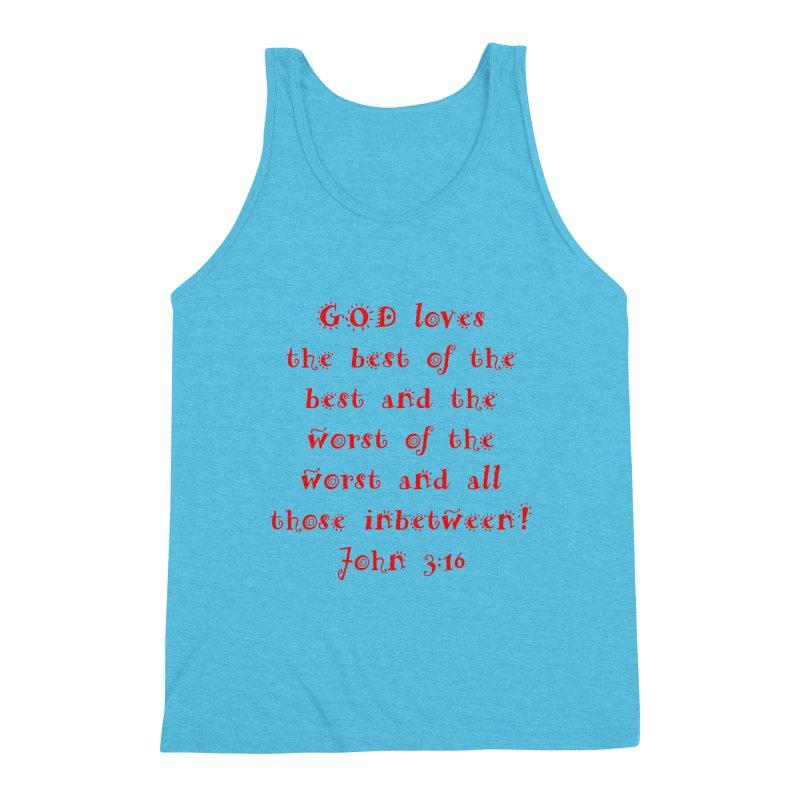 GOD Loves us Men's Triblend Tank by artworkdealers Artist Shop