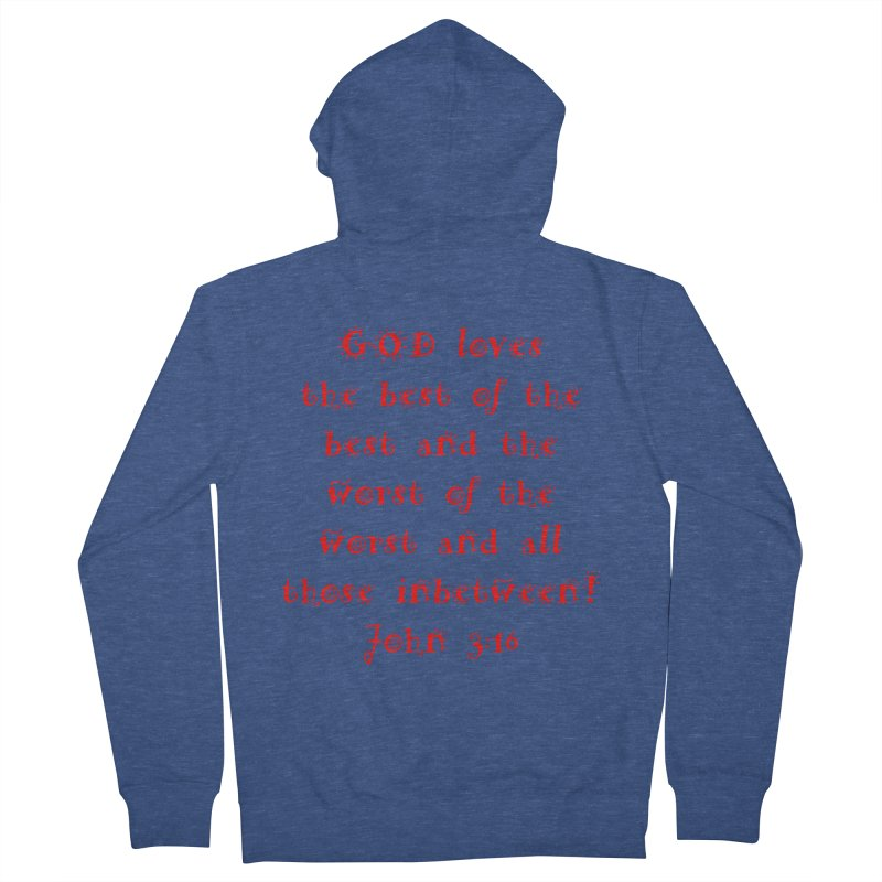 GOD Loves us Men's French Terry Zip-Up Hoody by artworkdealers Artist Shop