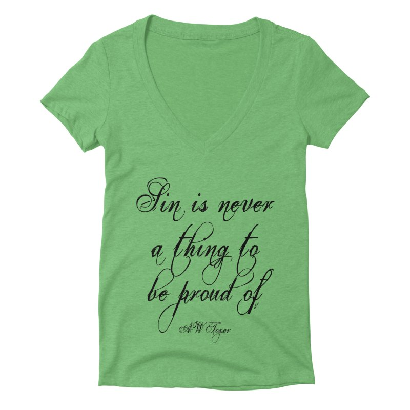 Sin is never a thing to be proud of Women's Deep V-Neck V-Neck by artworkdealers Artist Shop