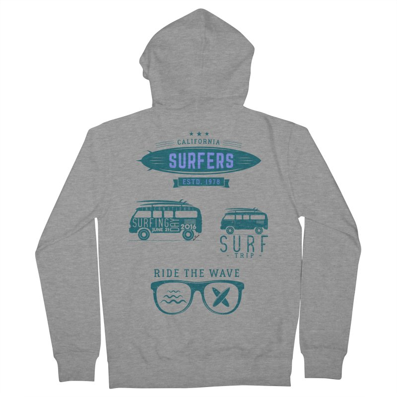 Certified Surfing Nut Women's French Terry Zip-Up Hoody by artworkdealers Artist Shop