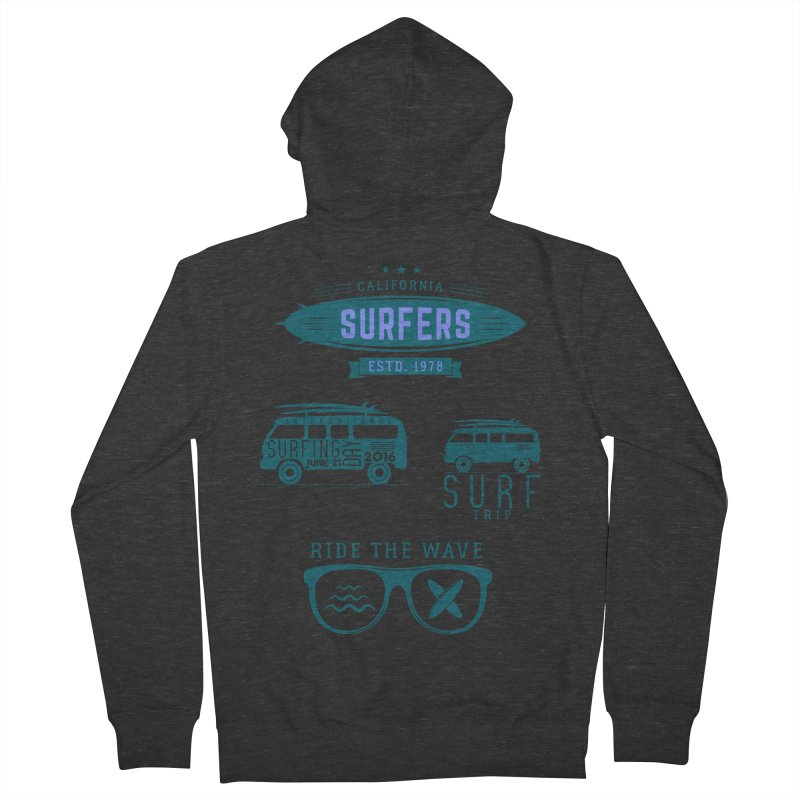 Certified Surfing Nut Men's French Terry Zip-Up Hoody by artworkdealers Artist Shop