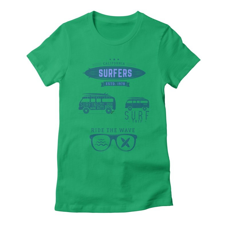 Certified Surfing Nut Women's Fitted T-Shirt by artworkdealers Artist Shop